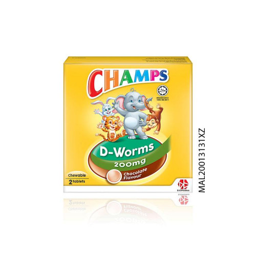 Champs D-Worms-6 Chocolate Chewable Tablet (2's)